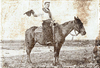 Old west photo of a cowboy on a horse