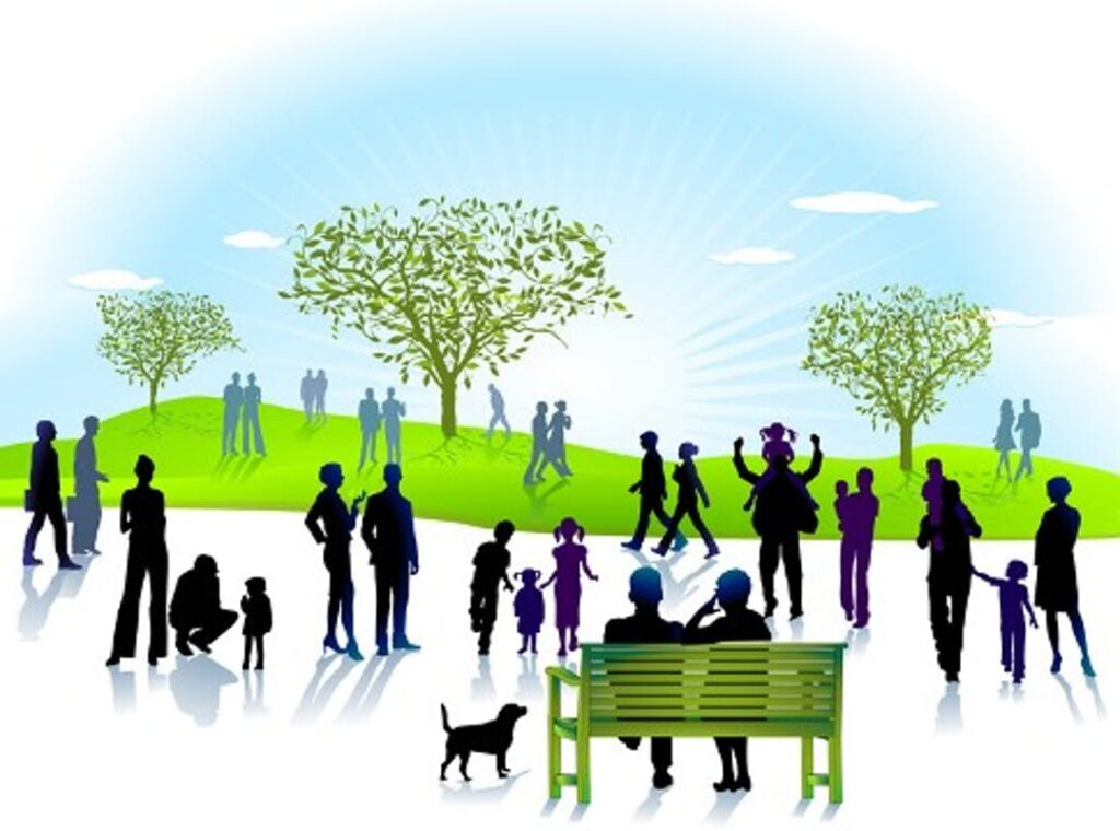 Graphic image of people in a park