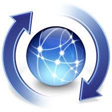 Graphic of a blue update globe
