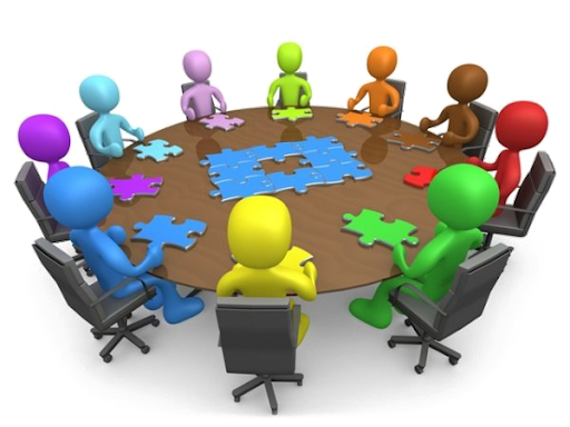 decorative graphic of people meeting around a table