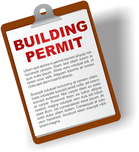 Building permit on a clipboard graphic